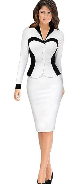 Haroty Vestido de Punto Otoño e Invierno de Mujer Manga Larga Vestidos de Trabajo empalme Vestido