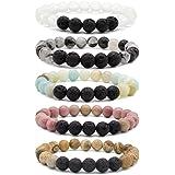 Bivei Lava Rock Stone Aromatherapy Essential Oil Diffuser Bracelet - Natural Semi Precious Gemstone Beads Healing Crystal Bracelet