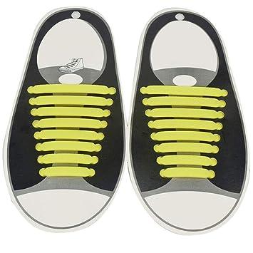 Eternitry Cordones de Silicona para niños y Adultos 1 par de Cordones de Cordones creativos para Cordones de Zapatos Planos para Zapatillas de Cordones ...