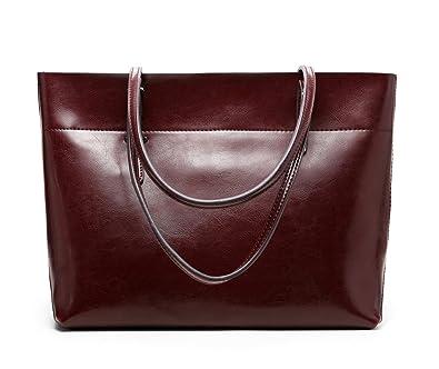 916335cb354c4 Panzexin Damen Echtes Leder Handtaschen Damen Henkeltaschen Elegante  Umhängetasche für Damen weibliche Schultertasche Kaffee