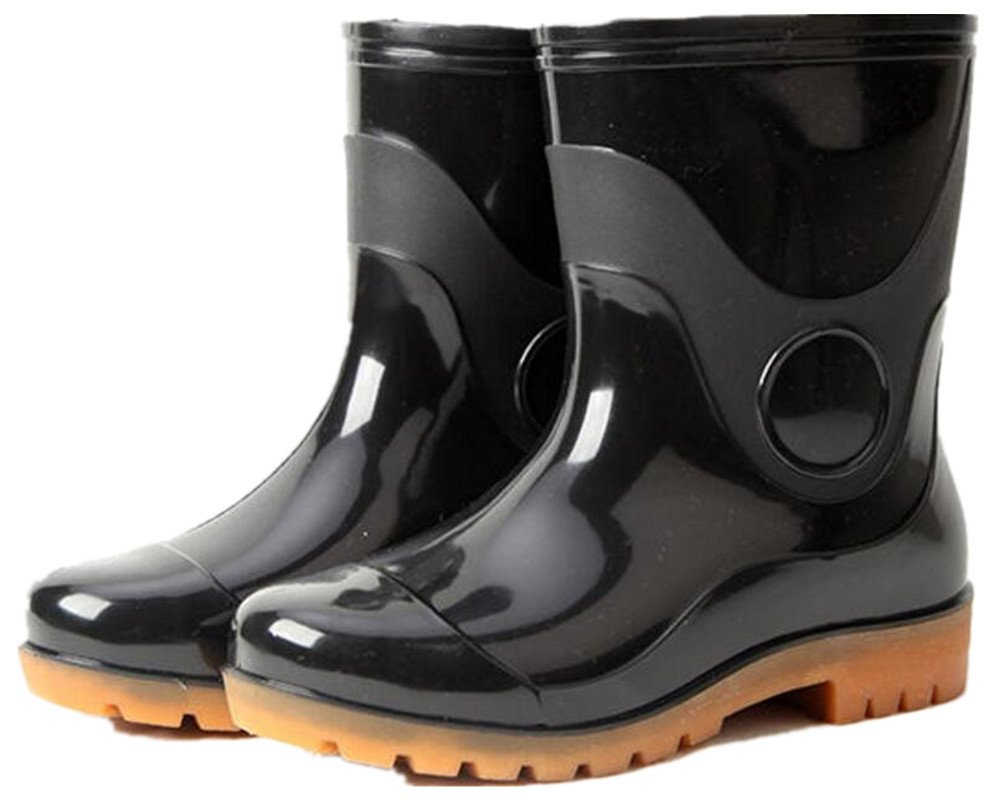 SATUKI Adult Men's Antiskid Short Rubber Water Resistant Work Shoes Rain Boots (7.5, Black)