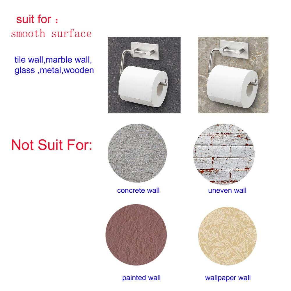 Toilettenpapierhalter für Badezimmer & Küche - Edelstahl Rostfrei, Gebürstetes Finish - Schwenkbarer Arm - Papierhalter Selbstklebend Kein Bohren Kein Werkzeug