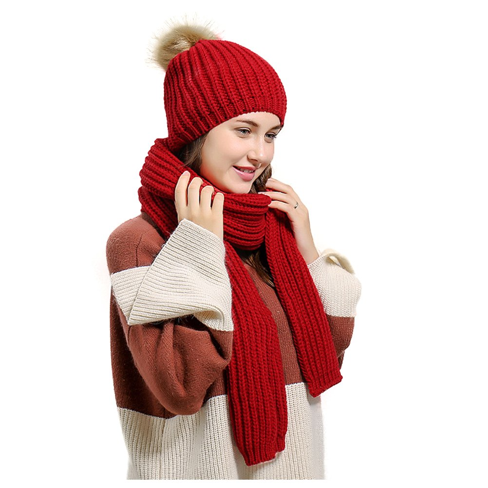 Jelinda Women's Autumn Winter Warm Knitted Hat and Scarf Set (Style 2 - Red) by Jelinda (Image #2)