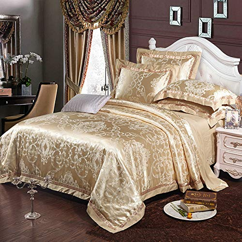 Euro Style Cotton Jacquard Bedding Set Lace Comforter Cover Blanket Cover Flat Sheet Set Pillowcases Queen King 4pcs,J,King
