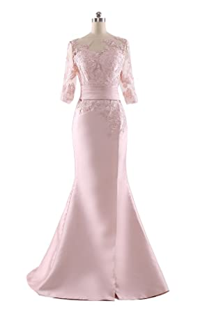 SoAyle Mermaid Long Sleeves Pink Lace Christmas Long Evening Dresses - Pink -