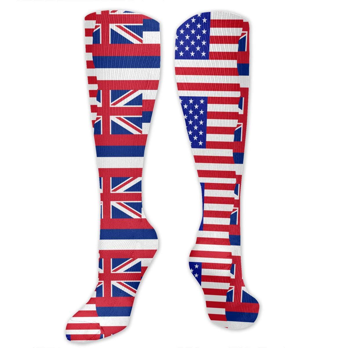 Unisex Half USA Half Hawaii State Flag Knee High Compression Thigh High Socks Tube Socks