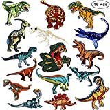 16pcs Dinosaur Iron On Patches, Akwox DIY Embroidery Appliques Patches Decoration Sew Heat Transfer Stickers for Women Men Kids T-Shirt,Jeans,Bags,Repair The Hole Stick