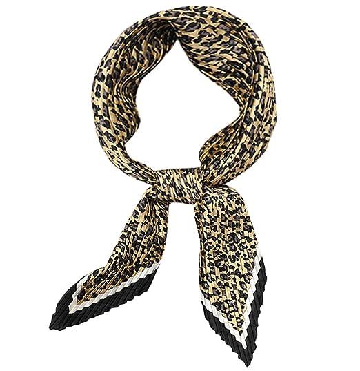 30cf43e28 DAMILY Leopard Foulard Carré Plissé Femme Petit Foulard Cheveux en ...