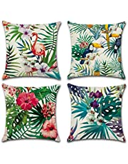Freeas Cushion Cover, Set of 4 Tropical Cotton and Linen Plants Bedspread Pillowcase Square Hull House Sofa Cover 45 x 45 cm (B)