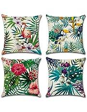 Gspirit 4 Pack Fenicottero Tropicale Fiore Le foglie Cotone Biancheria Cuscino Decorativo Caso Federa per cuscino 45x45 cm, Regalo divertente
