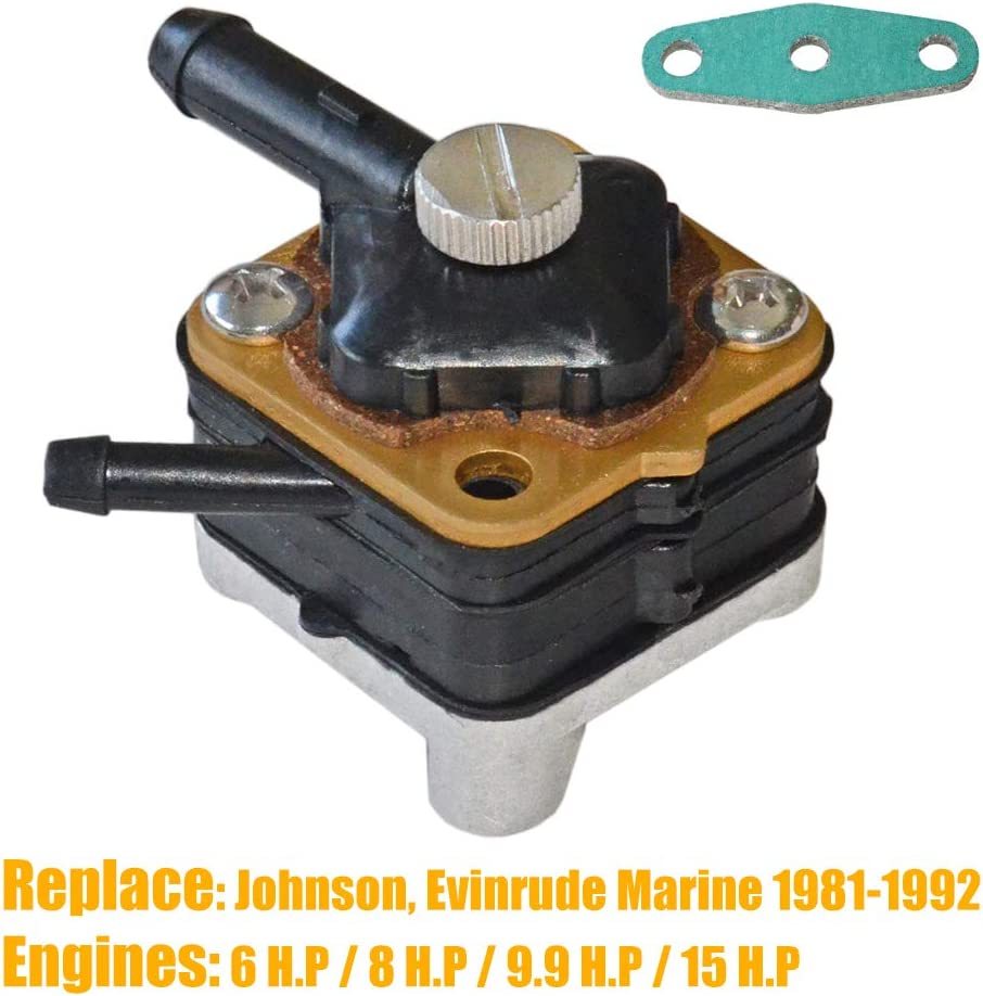 Outboard Fuel Pump with Gasket for Johnson Evinrude 6hp 8hp 9.9hp 15hp 1981-1992 Replaces 397839 391638 395091 397274,9-35350,18-7350 NEWZQ