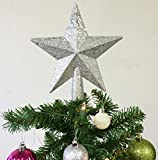 Christmas Elegance 7.8'' H Star Tree Topper With Glitter Christmas Tree Decoration - Silver