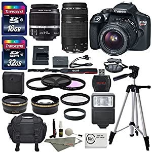 Canon EOS Rebel T6 DSLR Camera with EF-S 18-55mm f/3.5-5.6 IS II Lens, EF 75-300mm f/4-5.6 III Lens, and Premium Accessory Bundle (15 items)