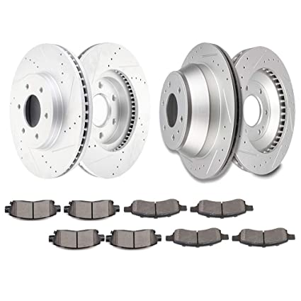 2008 2009 For Chevrolet Trailblazer Coated Rear Disc Brake Rotors and Pads
