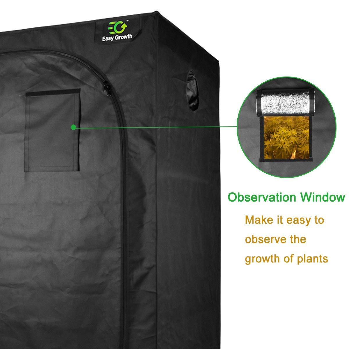 EasyGrowth 40''x40''x80'' Reflective Mylar Hydroponic Grow Tent with Observation Window and Waterproof Floor Tray for Indoor Plant Growing by EasyGrowth (Image #2)