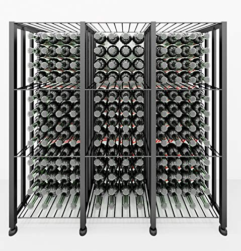 VintageView Case & Crate Series - Bin 144 Bottle Floor Wine Rack (Satin Black) Stylish Modern Wine Storage with Label Forward Design