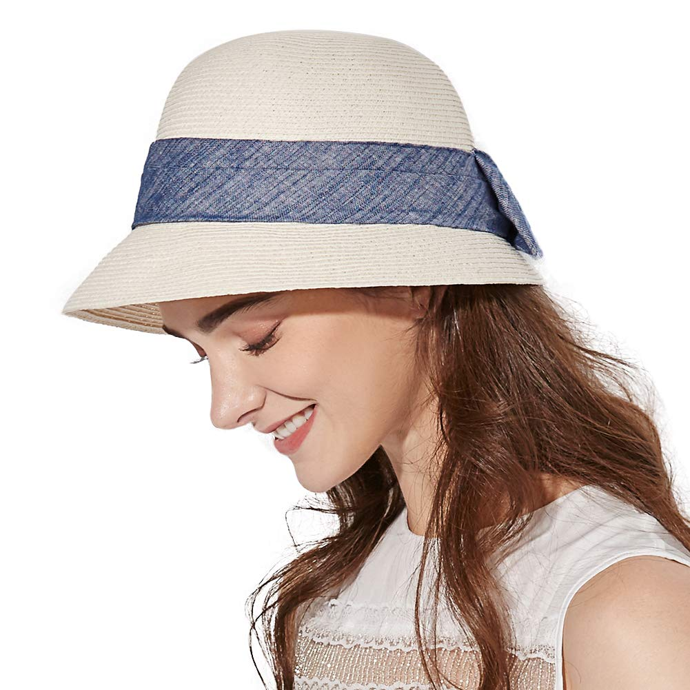 Jeff & Aimy Ladies Summer Straw Sun Hats SPF50+ Beach Hat Crushable Bucket Cloche Hat 56-59cm White by Jeff & Aimy