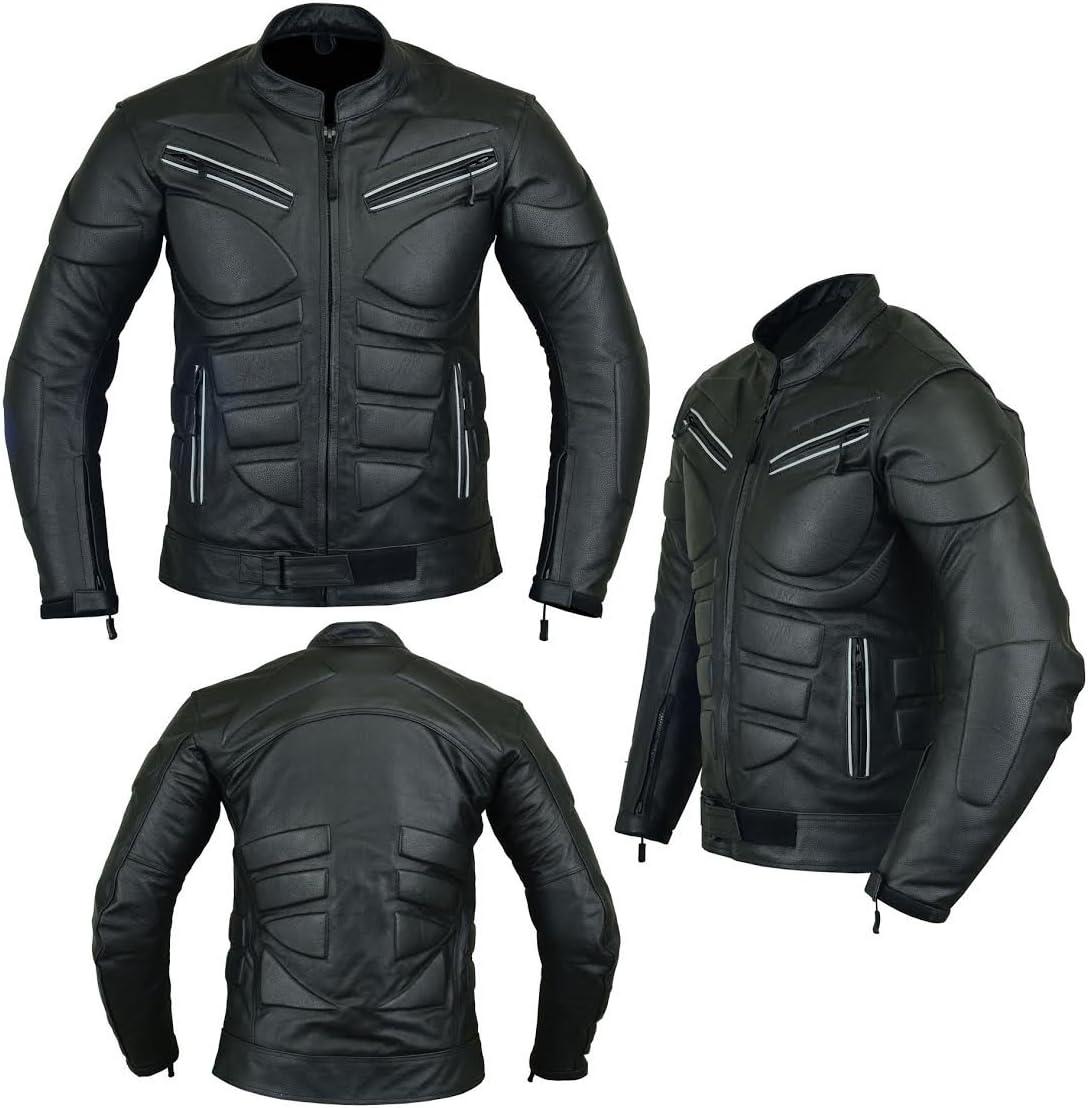 Cuir pleine fleur Noire Veste de moto avec armure de protection TK-4008