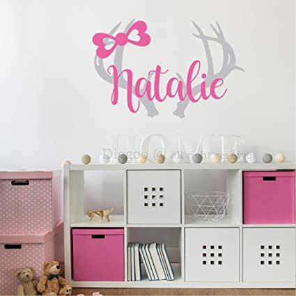 Amazon.com: Personalized Deer Antlers Name Decal For Girl ...