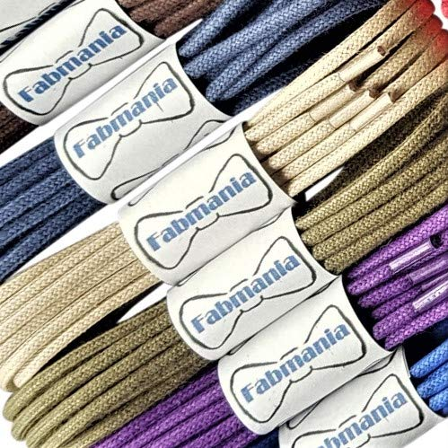 Thin Round White Waxed Cotton Shoelaces - 18'' / 45 cm length - Thin laces for dress shoes and boots. by Fabmania (Image #3)