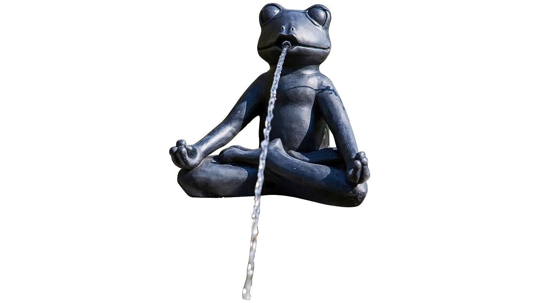 HEISSNER Stagno statuetta decorativa rana yoga im Schneider seduta in posizione del loto