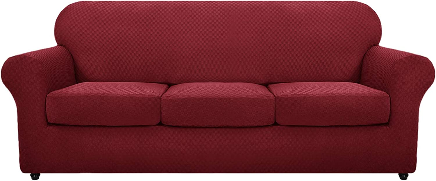 MAXIJIN 4 Piece Newest Couch Covers for 3 Cushion Couch Super Stretch Non Slip Couch Cover for Dogs Pet Friendly Elastic Jacquard Furniture Protector Sofa Slipcovers (Sofa, Wine Red)