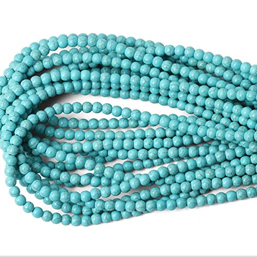 Asingeloo Howlite Turquoise Round Loose Beads Gemstone 15 Inch 6mm Crystal Energy Stone Healing Power for Jewelry Making