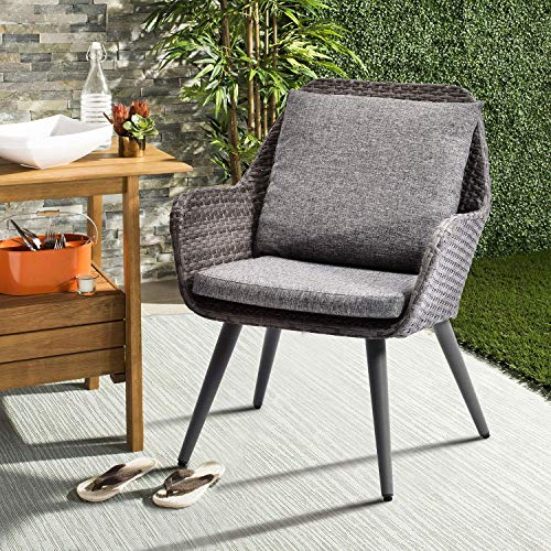 LZ LEISURE ZONE Patio PE Rattan Chair Outdoor Wicker Dining Chairs Accent Furniture Chair Sets with Grey Cushion for Patio Garden Café Restaurant Bistro Bar Dinette and Hotel (Grey Cushion_1)