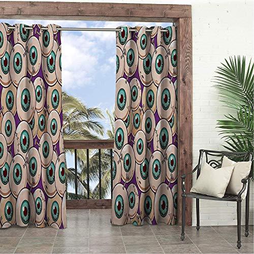Linhomedecor Garden Waterproof Curtains Halloween Zombie Eyeballs Multicolor Porch Grommet Printed Curtain 96 by 96 inch -