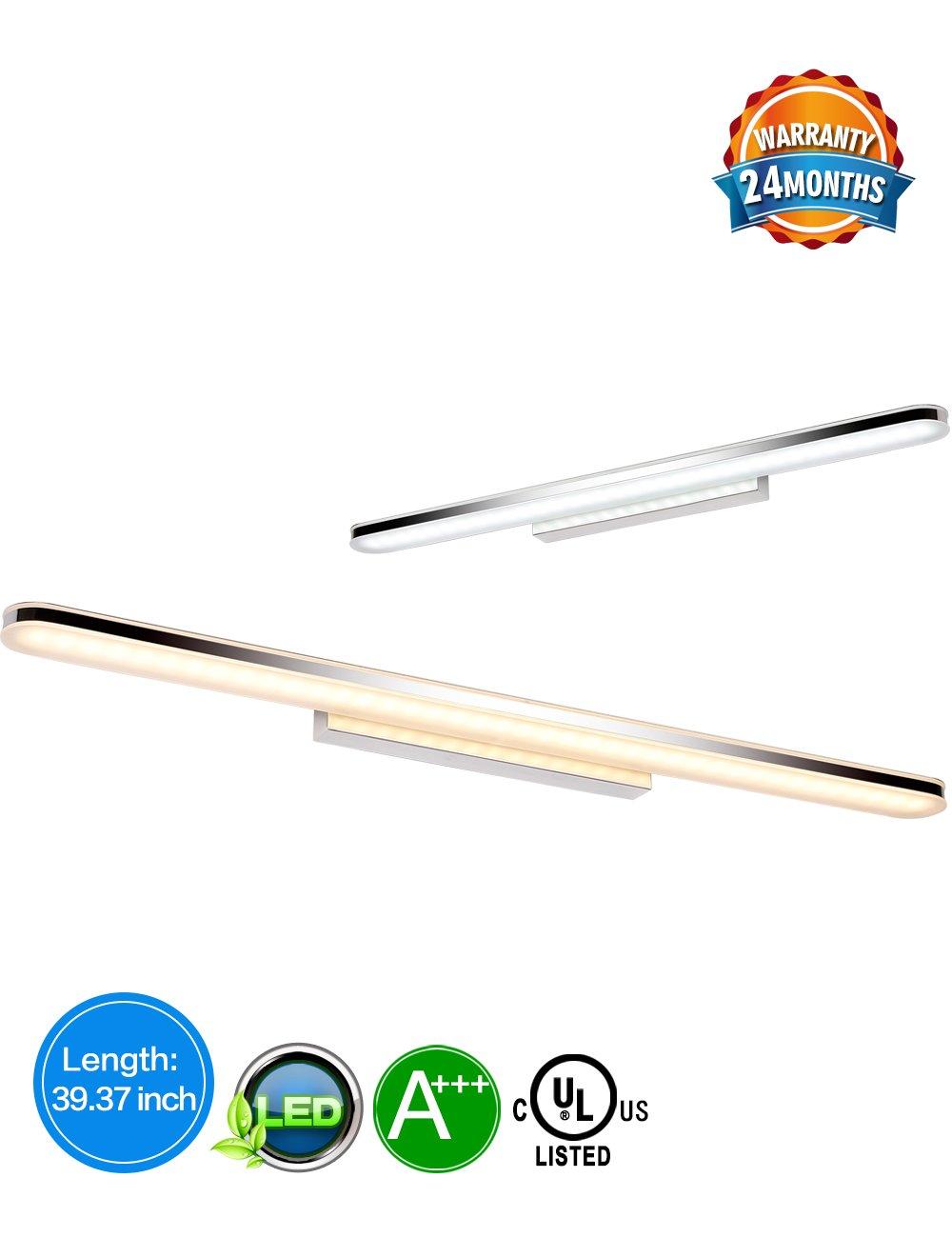 LED Bathroom Vanity Lighting Fixtures Long Shade Stainless Steel Bath Mirror Lamps WaLL Lights