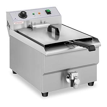 Royal Catering Freidora Eléctrica Para Hostelería 16 Litros 230 V RCEF 16EB (3.500 Watt, Grifo De Vaciado, Temperatura: 50-200 °C): Amazon.es: Hogar