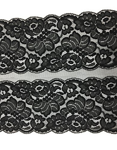 Fancy Lace Trim - Fancy 12 Inch Black Lace Trimmings - 2 Rows of Floral Lace Trim, for Garment and DIY 2 Yard