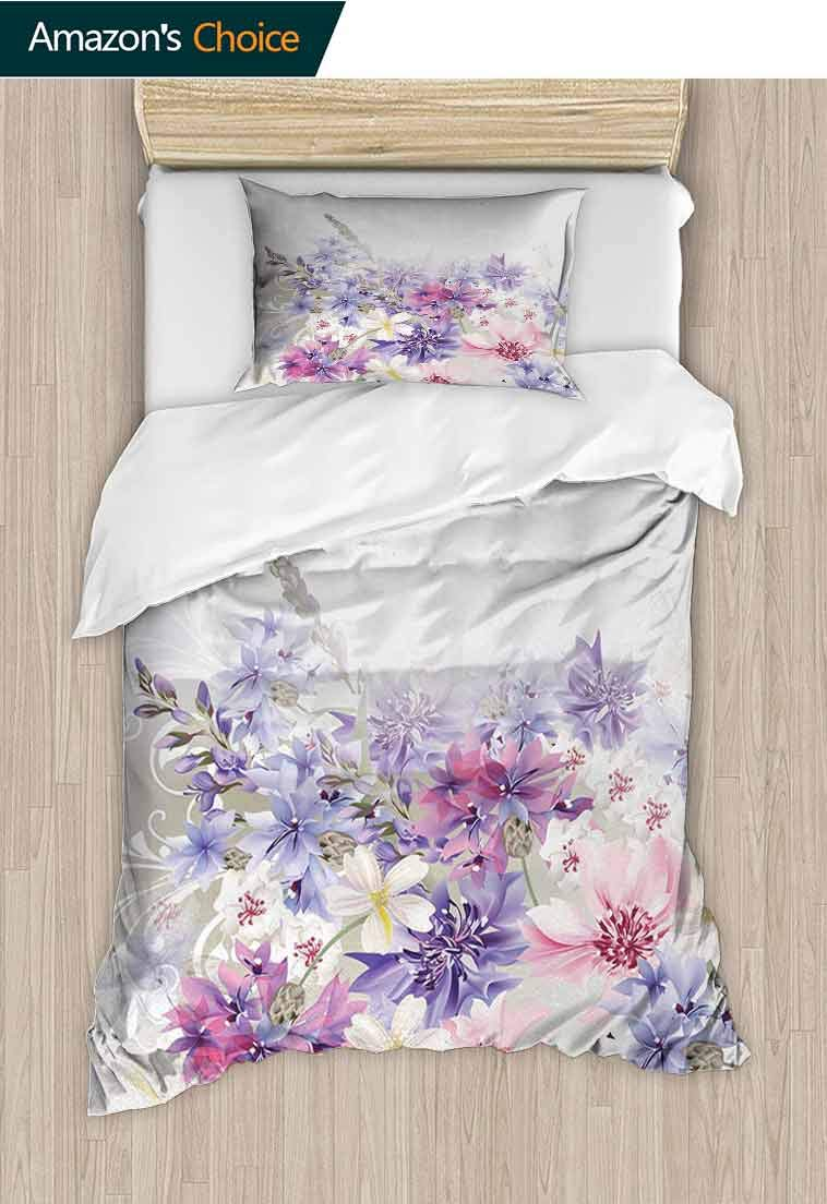Lavender Printed Quilt Cover and Pillowcase Set, Pastel Cornflowers Bridal Classic Design Gentle Floral Wedding Design Print, 3D Print 100% Polyester Fiber Quilt Cover & Pillowcases Violet Pink White