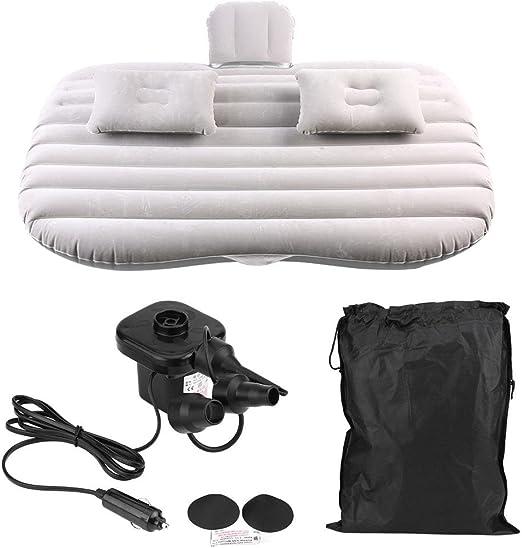 Colchón neumático del coche, cama inflable Cama del asiento trasero del coche con la bomba de aire inflable del bolso del almacenamiento de las almohadas para el viaje del vehículo que acampa(gris)