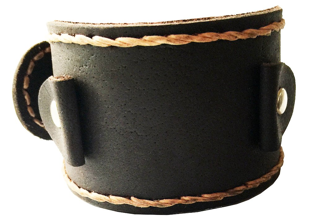 D'SHARK 2'' Wide Handmade Brown Punk Rock Biker Leather Cuff Wrist Watch Band - Unisex