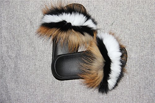 Single Open Strap Real Feather Women On Vegan Slip Toe Multicolor Multicolor qmfur Fox Leather Fur Sandals vzS0151aq