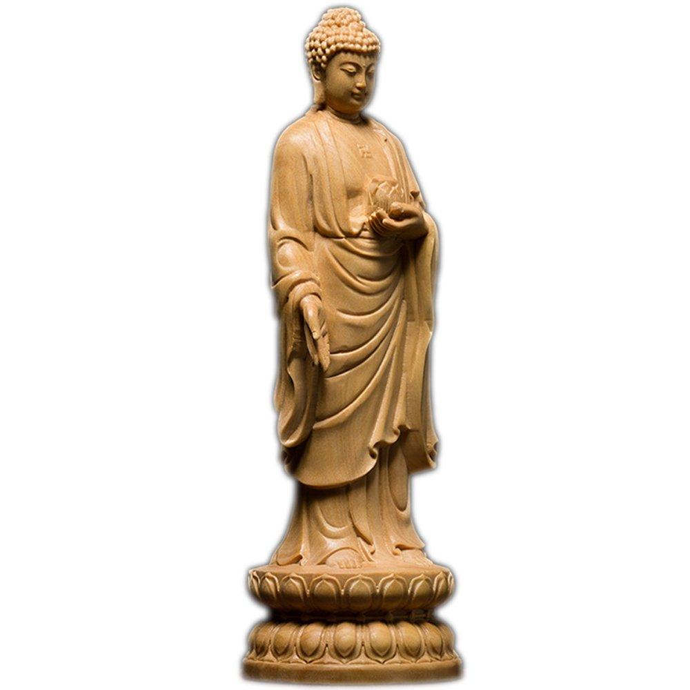 釈迦如来像 高級天然ツゲ木彫り釈迦牟尼仏立像 木製仏像 仏教美術品 黄楊 柘植 仏陀彫刻 ブッダ お釈迦様 専用化粧箱入り お手入れガイド同梱 (21センチ) B077XBYSR721センチ