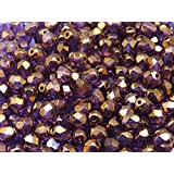 CHOOSE COLOR! 50pcs Fire-Polished Beads - Czech Faceted Glass Beads, Round 6mm (Crystal Vega Luster-6FP035)