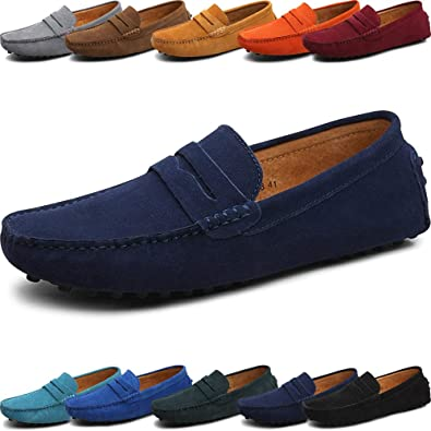 Genuine Leather Fashion Soft Moccasins Flat Loafers Shoes for Men (Womens 6.5 / Mens 5
