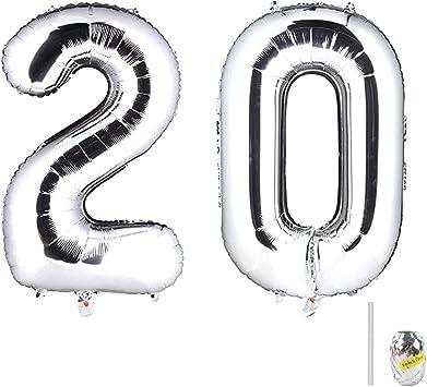 Huture 2 Globos Número 20 Figuras Globo Inflable de Helio Globo de Mylar de Papel Grande Globos Gigantes de Plata Número de Globo de 40 Pulgadas Para Fiesta de Cumpleaños Decoración Prom XXL 100cm