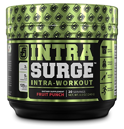 INTRASURGE Intra Workout Energy BCAA Powder – Fermented BCAA Amino Acids, Natural Caffeine, L-Citrulline, and More for Muscle Building, Strength, Pumps, Endurance, Recovery – Fruit Punch, 20sv For Sale