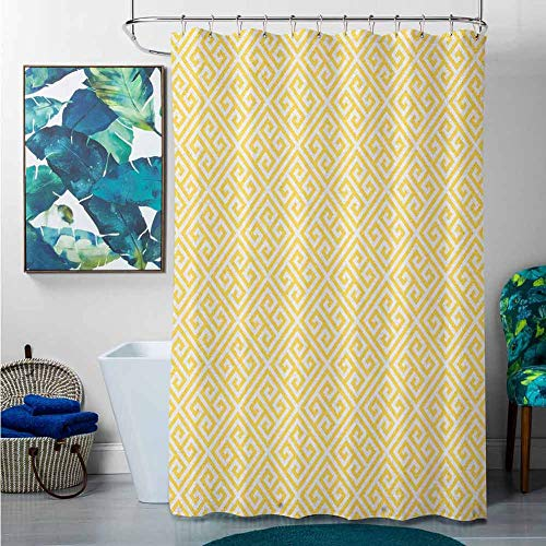 homecoco Shower Curtains Leopard Greek Key,Ancient Roman Culture Themed Minimalist Pattern Meander Diagonal Squares Tile, Yellow White,W69 x L90 Shower Curtain for Kids