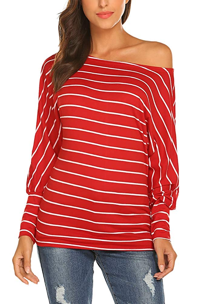 Qearal Womens Long Sleeve Striped Shirts Loose Casual Off Shoulder Tops Blouses