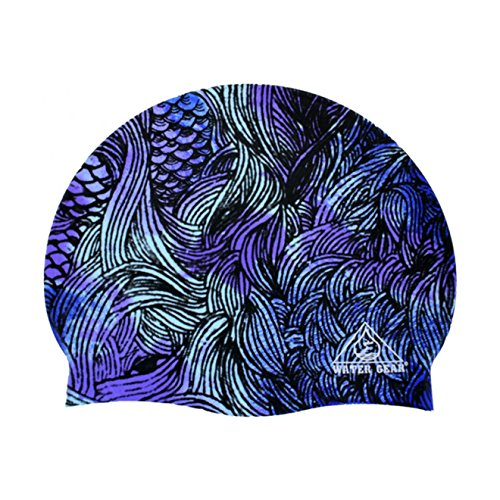 Water Gear Blue Mermaid Silicone Graphic Swim Cap ()