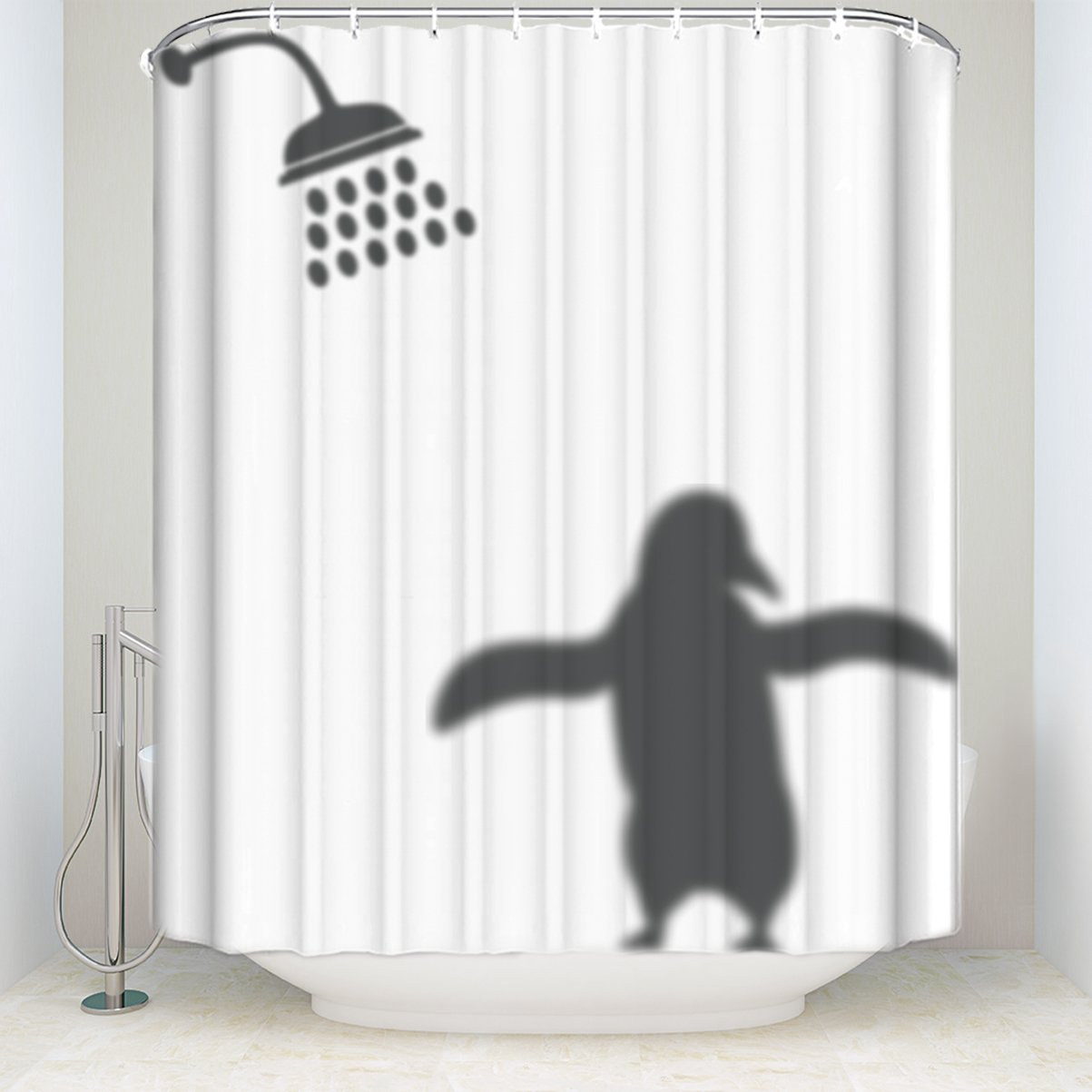Amazon.com: Penguin Shadow Shower Curtains Animals Home Decor Funny ...