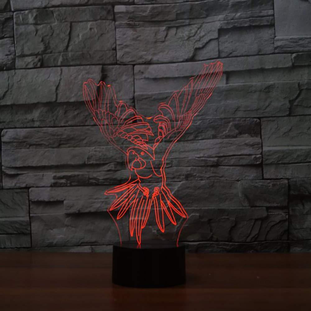 Mzdpp Cambio De Colores 3D Visual Usb Usb Usb Flying Parrot Lámpara De Mesa Botón Táctil Luz De La Noche Del Pájaro Led Sueño Del Bebé Accesorio De Luz Niños Regalos De Navidad 9a0d84