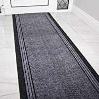 Grey Rubber Backed Very Long Hallway Hall Runner Narrow Rugs Custom Length - Sold and Priced Per Foot
