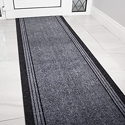 "The Rug House Grey Rubber Backed Very Long Hallway Hall Runner Narrow Rugs Custom Length - Sold and Priced Per Foot - How to buy: This runner is sold and priced per foot, please select the length you require from the drop down box. Size: 2'2"" (66cm) Wide - You choose the length you require. Depth: 5mm DESIGN CODE: Concorde Grey - runner-rugs, entryway-furniture-decor, entryway-laundry-room - 61XDk9rnSHL. SS400  -"