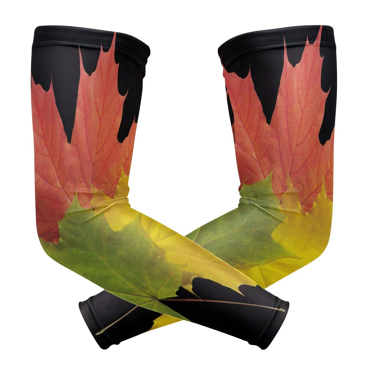Arm Sleeves Autumn Leaves Colorful Mens Sun UV Protection Sleeves Arm Warmers Cool Long Set Covers White