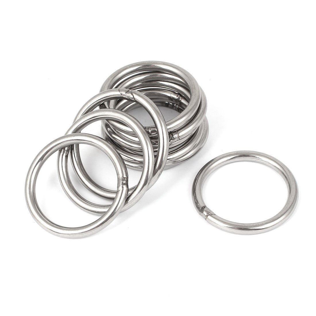 Uxcell a16022600ux0048 M5 x 50mm 201 Stainless Steel Strapping Welded Round O Rings 10 Pcs (Pack of 10)